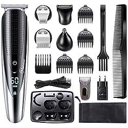 HATTEKER Regolabarba Uomo tagliacapelli Professionale Barba e Capelli Impermeabile Precisione Regolabarba Barba, Capelli e Corpo Naso 5 in 1