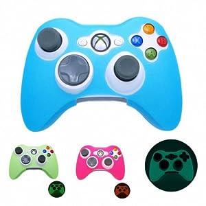 BLAU GLÜHEN in dunklen Xbox 360 Game Controller Silikonhülle Hautschutz Cover (viele Farben erhältlich)