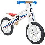 BIKESTAR® Premium 30.5cm (12 pulgadas) Bicicleta sin pedales para los exploradores mas valientes a partir de 3 años ★ Edición de madera natural ★ Blanco Rallye
