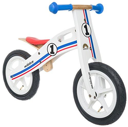Bikestar Vélo Draisienne Enfants en Bois pour Garcons et Filles DE 3-4 Ans ★ Vélo sans pédales évolutive 12 Pouces ★ Blanc Bleu Rouge Tricolore