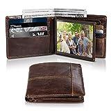 Mens Wallet RFID Genuine Leather Slim Bifold Wallets for Men, ID Window 16