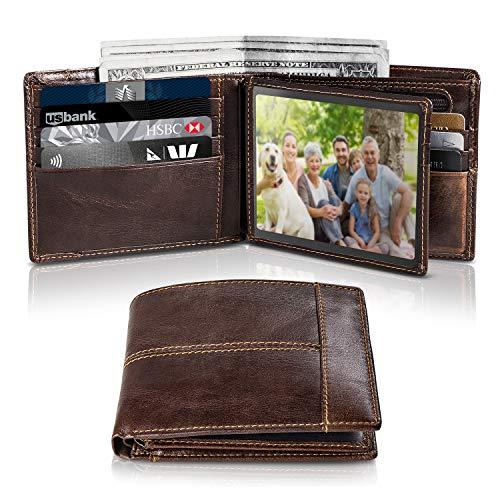47d3ba10024 Cartera Hombre Cuero Cartera de Piel Monedero Tarjetro Billeteras RFID  Bloqueo para 16 Tarjetas de Crédito con ID Ventana Slim Bifold Gran  Capacidad ...