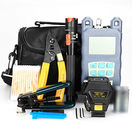 FTTH Fiber Optical Tool Kit 19 in 1 with Fiber Splicer Fiber Cleaver Visual Fault Locator Optical Power Meter Cable Tester Stripping Tool Multi-function Equipment 1 Cleaver