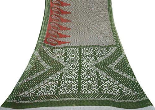 Indische Jahrgang gedruckte reine Baumwollsaree-weiße ethnische Sari-Fertigkeit-Stoff-Deko