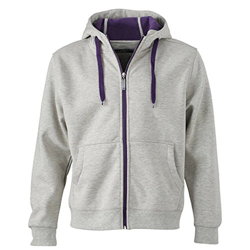 JAMES & NICHOLSON Giacca sportiva bonding con cappuccio grey-heather/purple