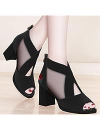 Jqdyl Tacones Nuevos zapatos de tacón alto de primavera y verano con malla Zapatos de malla con zapatos de plataforma...