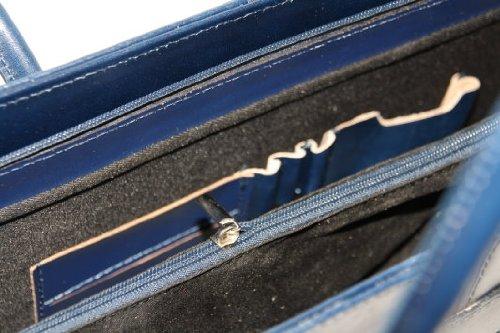 Cuir ladies business / Porte-documents / portable sac avec bandoulière Italie mod. p 2026 ( 40 / 28 / 13) Bleu Foncé