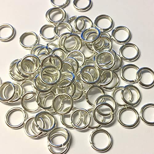 100 x 10 mm Anneaux Ouverts en métal argenté, robuste