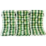 Ambientehome 3er Set Hochlehner Auflage Kissen Hanko Maxi, kariert grün, ca 120 x 50 x 8 cm, Rückenteil ca 70 cm, Polsterauflage