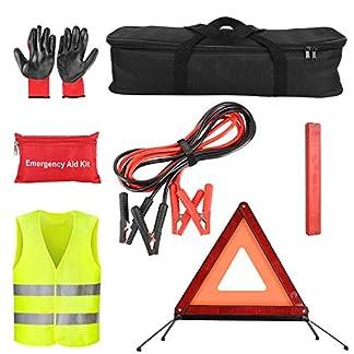 Femor Kit de Emergencia Coche, Guantes de Goma, Triángulo Reflectante Plegable de Emergencia, Cable de Batería de Coche y Paquete Médico, Chaleco Reflectante Kit de Señalización de Emergencia