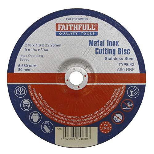 Faithfull 23018(MDC 230x 1,8x 22mm Cut Off Disc Pour Déprimé Centre en métal