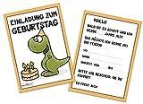 Kindergeburtstag T-Rex Jungen Geburtstag Einladung Dino Einladungskarten Geburtstagseinladung Kinder Dinosaurier Tyranno Saurus Rex - Set zu 10 Stück - Illustration - 14,8 x 10,5 cm