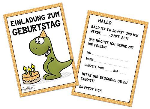 (Kindergeburtstag T-Rex lustig Jungen Geburtstag Einladung Dino Einladungskarten Geburtstagseinladung Kinder Dinosaurier Tyranno Saurus Rex - Set zu 10 Stück)