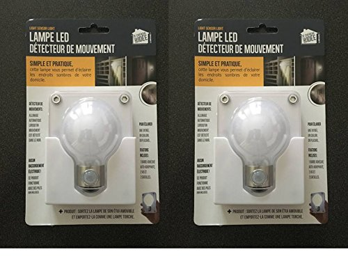 Lot de 2 : Lampe à led Détecteur de mouvement et détachable. Idéal pour les WC, un couloir, un placard, la cave, le garage, etc. Plus de zone d'ombre la nuit chez vous. Piles fournies