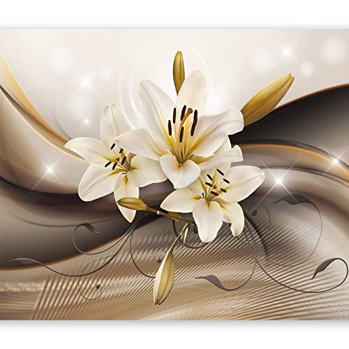 murando - Fototapete 350x256 cm - Vlies Tapete - Moderne Wanddeko - Design Tapete - Wandtapete - Wand Dekoration - Blumen Lilien Braun Blitz Abstrakt b-A-0250-a-b - 400 Dekorative Akzente