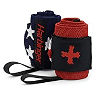Harbinger Red Line 18-Inch Weightlifting Wrist Wraps for Men and Women (Pair), Flag