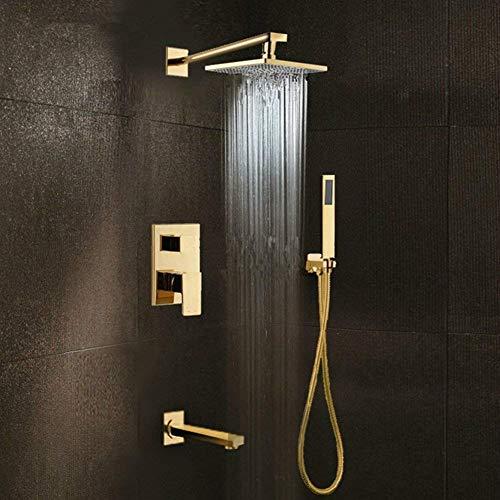 Gold Messing Regendusche Kopf/weit verbreitet Wasserfall Badewanne Mischbatterie Bad Bad Dusche Wasserhahn Set/Wand Bad Dusche System (Dusche Kopf Wasserhahn Set)