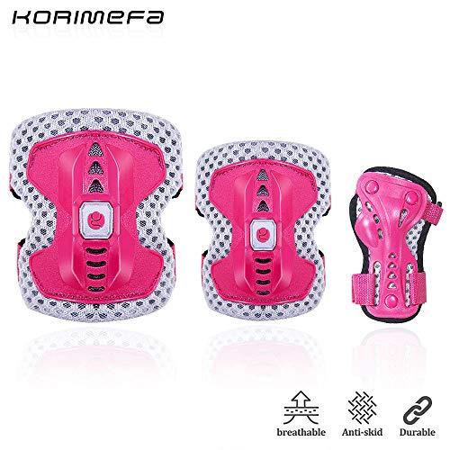 KORIMEFA Kinder Knieschoner Ellboenschoner für Kinder 3 bis 13 Jahre alt Schutzausrüstung Set für Multi-Sport BMX Fahrrad Motorrad Skateboard Schifahren (Rosa, m)