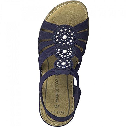 Marco Tozzi 28504, Sandali con Cinturino alla Caviglia Donna Blu (Navy)