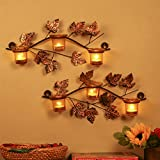 #3: Homesake Iron Wall Mount with Votive Candle Holder and T-Light Candles (40 cm x 8 cm x 27 cm, Yellow, Set of 2)