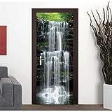 XIAOXINYUAN 3D Tür Aufkleber DIY Abnehmbare Wasserdichte Wasserfall Landschaft Wandbilder Wandaufkleber Tapete Für Schlafzimmer Hause Weihnachtsdekor