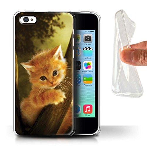 Officiel Elena Dudina Coque / Etui Gel TPU pour Apple iPhone 5C / Loups Blancs Design / Les Animaux Collection Le Brave/Chaton