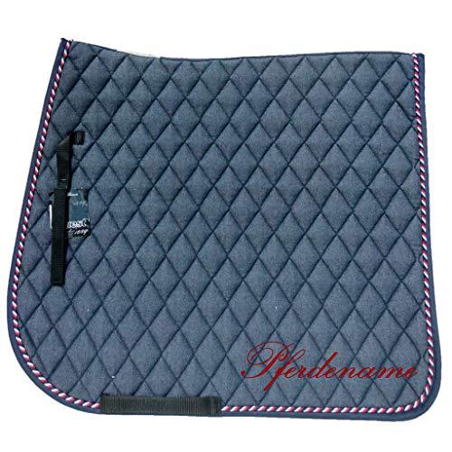 EQuest Schabracke personalisiert mit Pferdename, Cotton. Diamant, Dressur,Gr.W. in DREI schönen Naturtönen (Jeansblau)