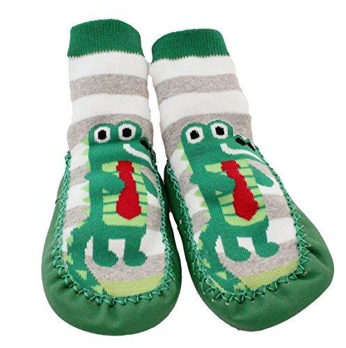 Baby Kleinkinder Kinder Innen Pantoffel Schuh Socken Mokassins Rutschfest Grün Graue Streifen Krokodil - Grün, Age 2-3 (Sole length 16cm) (Baby Mokassins Größe 1)