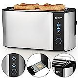 Balter Toaster 4 Scheiben Langschlitz  Brötchenaufsatz  Auftaufunktion  Brotzentrierung  Krümelschublade  Edelstahlgehäuse  Farbe: Silber