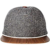 Tweed Cap grau mit edlem Holzschild - Made in Germany - Basecap Herren aus feinster Wolle - Sehr leicht & bequem - One size fits all Snapback | Lou-i Kappe