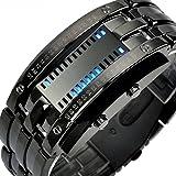 Altsommer Herren Digital LED-Uhren,Outdoor Wasserdichte Armbanduhr mit Chronograph Uhr,Flash LCD Digital Stoppuhr Datum Schwarz Edelstahl für Herren,Armbanduhren,23cm Bandlänge (Schwarz)