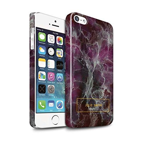 Personalisiert Personalisiert Marmor Glanz Hülle für Apple iPhone 8 Plus / Rot & Rosa Banner Design / Initiale/Name/Text Snap-On Schutzhülle/Case/Etui Lila & Gold Briefmarke