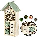 Nid-hôtel en bois pour insectes/abeilles/coccinelles Heritage - Toit vert - À fixer