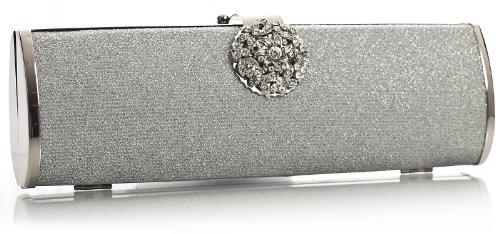 BHBS Damen Trendige glänzend Abend Partei Kupplung Handtasche 26 x 10 x 5 (BxHxT) Silber