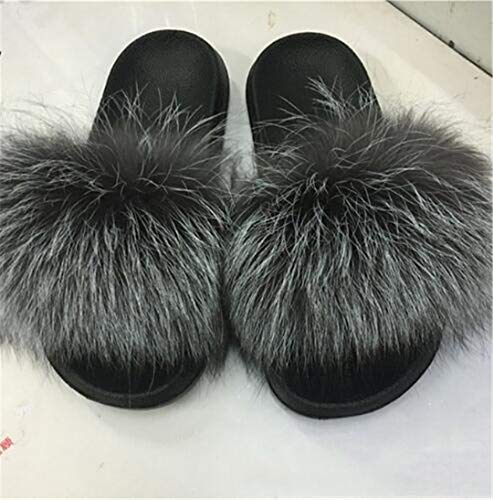 HULIMAOSER Women's Furry Hair Slippers Warm Furry Slippers Plush Fashion Indoor Solid Slippers 16 7 Furry-slip-ons