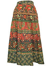 Chanchal Women's Cotton Green Wrap Around Skirt (CHNCHLWRPSKI710__GREEN IN MULTICOLOR_FREE SIZE)
