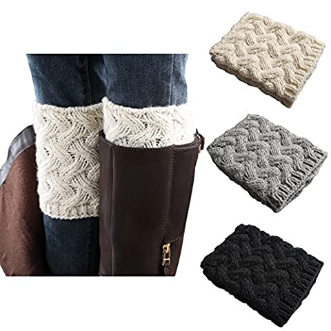 Esenfa Warm Knitting Leg Warmers Boot Toppers Boot Cuffs For Women 3 Pairs Pack (A)