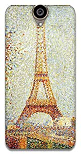 The Racoon Grip Eiffel Tower - Seurat hard plastic printed back case / cover for HTC One E9 Plus
