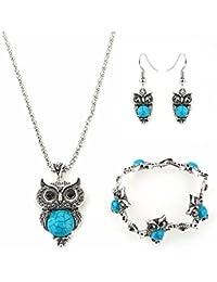 lumanuby 1Set colgante pulsera collar pendiente de cadena de búho de estilo joyas cristal collar en plata joyas mujer collar del collar Mujer Niña en