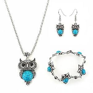 Hosaire 1 Set von Halskette + Ohrringe + Armband Retro Elegantes Eule Kristall Gem Anhänger Damen Necklace + Earring + Bracelet Set (Blau)