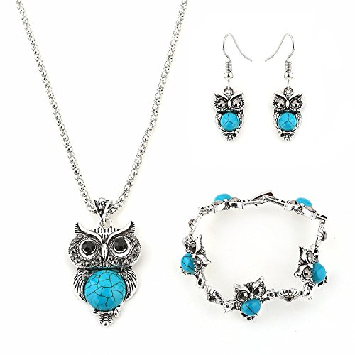 Hosaire Necklace Earrings Bracelet Retro Elegant Women Jewellery Crystal Set of Owl Crystal Pendant Necklace+Earrings+Bracelet