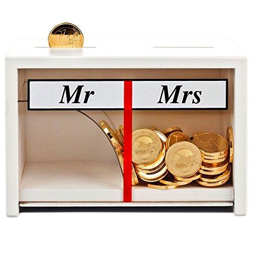 Spardose Mr & Mrs Weiß – lustige Geldgeschenke fürs Brautpaar – Hochzeitsspardose Deko Holz – persönliche Sparbüchse Hochzeit