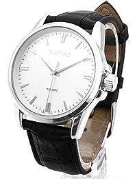 Dictac Reloj Hombre de Cuarzo Impermeable de Estilo Breve (argénteo)