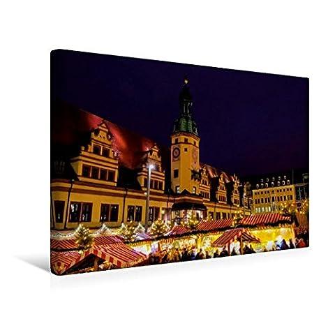 Premium Textil-Leinwand 45 cm x 30 cm quer, Weihnachtsmarkt | Wandbild, Bild auf Keilrahmen, Fertigbild auf echter Leinwand, Leinwanddruck: Reise durch Leipzig (CALVENDO (Deutscher Weihnachtsmarkt-buden)