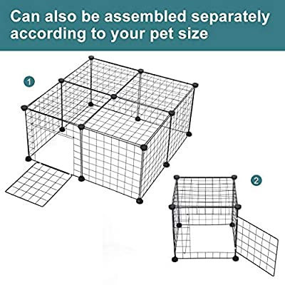SOULONG Small Pet Playpen, DIY Metal Wire Apartment-style Expandable Two-storey Animal Fence and Kennel 12 Metal Grids 14 x 14inch by SOULONG
