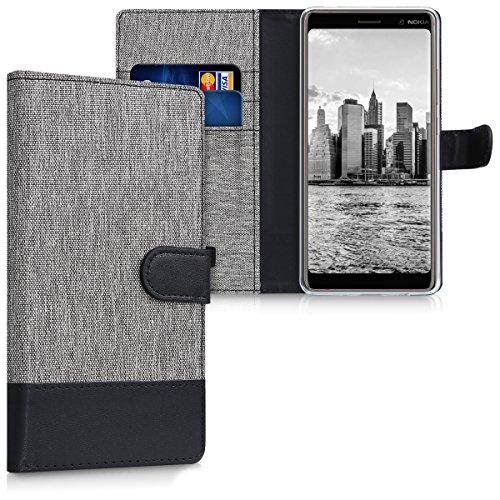 kwmobile Hülle für Nokia 7 Plus - Wallet Case Handy Schutzhülle Kunstleder - Handycover Klapphülle mit Kartenfach und Ständer Grau Schwarz