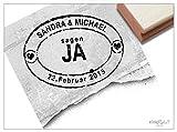 Stempel - Hochzeitsstempel WIR SAGEN JA mit Namen und Datum - Individueller Datumsstempel für Ihren Hochzeitstag im Poststempel-Design - zAcheR-fineT