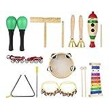 ammoon Giocattolo Percussione Strumenti Musicali Set di Band di Ritmi Glockenspiel Tamburello Maracas Doppia Canna Cilindro per Bambino 9pcs