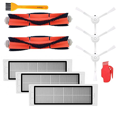 aotengou Accessories Kit for XIAOMI MI Robot Vacuum Replacement Parts 3 PCS Side Brush 3 Pcs HEPA Filter 2 Pcs Main Brush 1Pcs Cleaning Tool