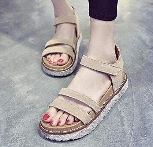 Le scarpe delle nuove donne di estate 2017 allentano i pattini piani dei sandali semplici del basamento spessa della torta 1
